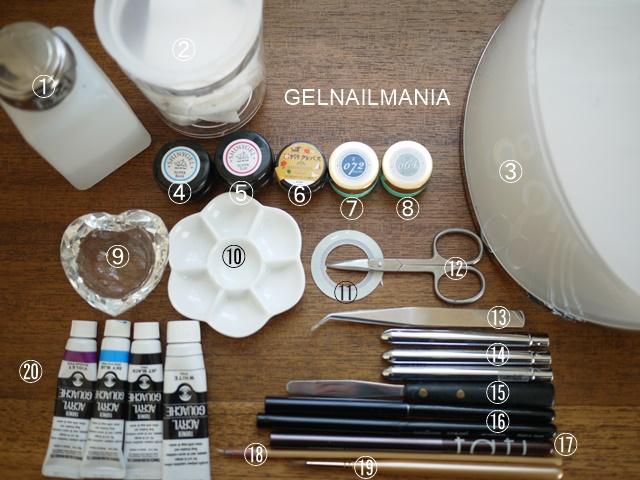 水彩画風ジェルネイルアート 材料、道具
